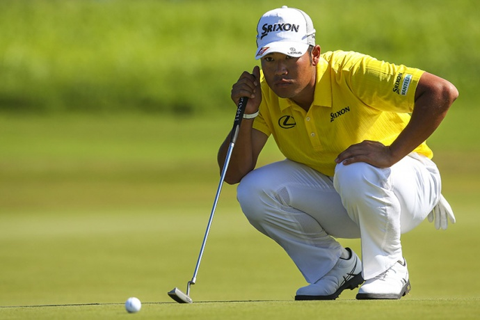 Hideki Matsuyama carded the low round of the day, 7-under, to climb into a tie atop the leaderboard as he looks for his second PGA TOUR victory. Photo by Mike Ehrmann/Getty Images.