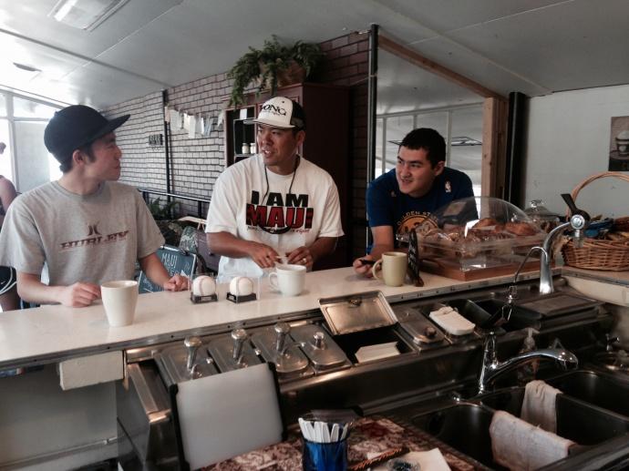 Kurt Suzuki and friends at Maui Coffee Attic.