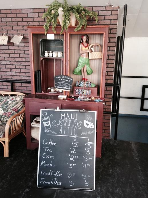 coffee attic menu and decor