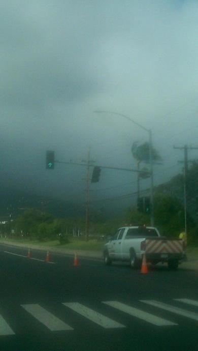 Valentine's Day storm damage Maui, 2/14/15.  Kaʻahumanu Avenue near UHMC. Photo credit: Sunshine Galiza.
