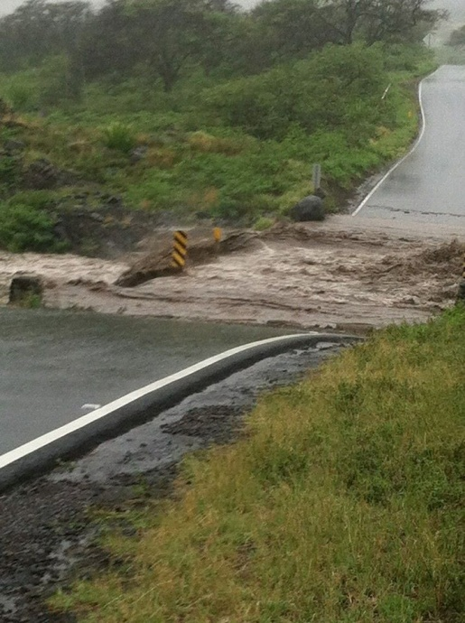 Valentine's Day storm damage Maui, 2/14/15. Bridge washed out near Kaupō. Photo courtesy: Joni Demello.