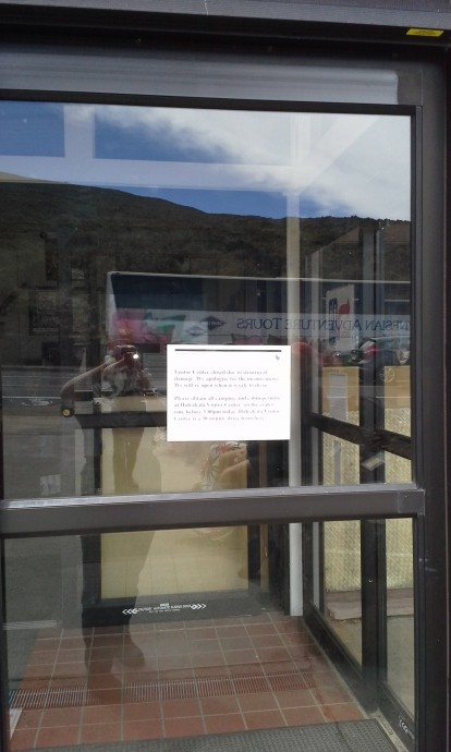 Headquarters Visitor Center Closed due to Structural Concerns. Photo courtesy Haleakalā National Park.