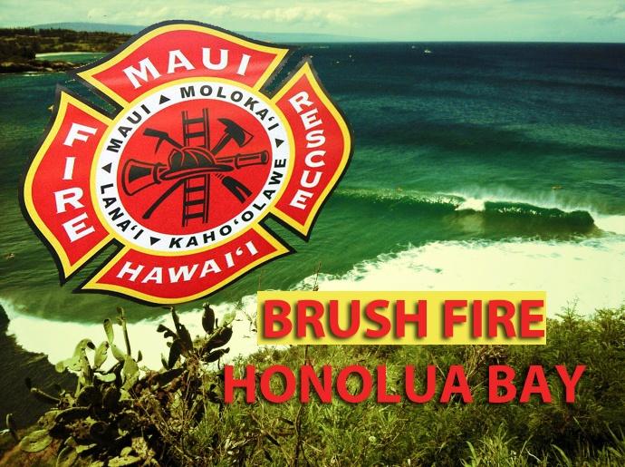 Brush Fire, mauka of Honolua Bay.  Maui Now graphic.