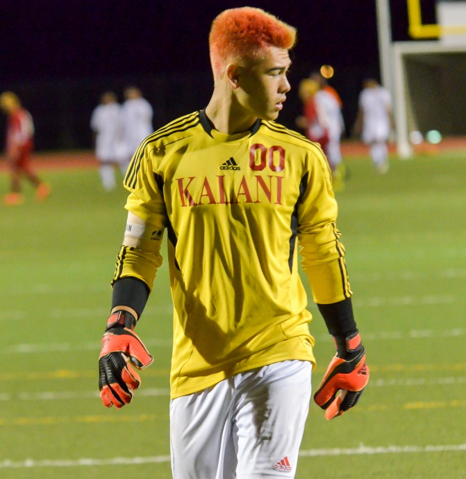 Kalani High School goalkeeper Michael Stafford came up with a huge save on a penalty kick Saturday to preserve a 2-1 victory at Kamehameha Maui. Photo by Rodney S. Yap.