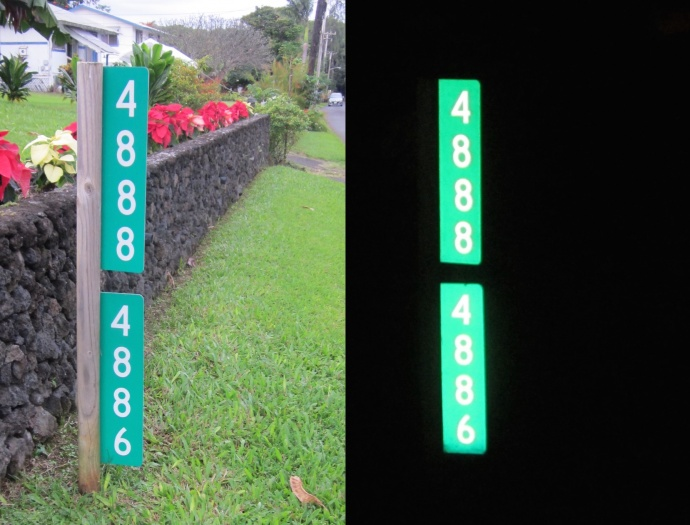 Find Us 911 reflective sign.