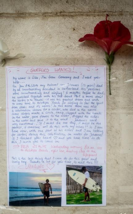 Hoʻokipa memorial for Johannes. Photo courtesy Mike Stu.