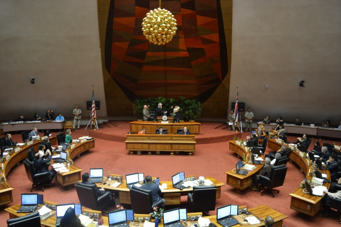 Rep. DeCoite Swearing in.  Photo by Will Nhieu House Communications Office.
