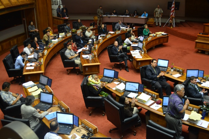 Rep. DeCoite in her seat on the House Floor.  Photo by Will Nhieu House Communications Office.