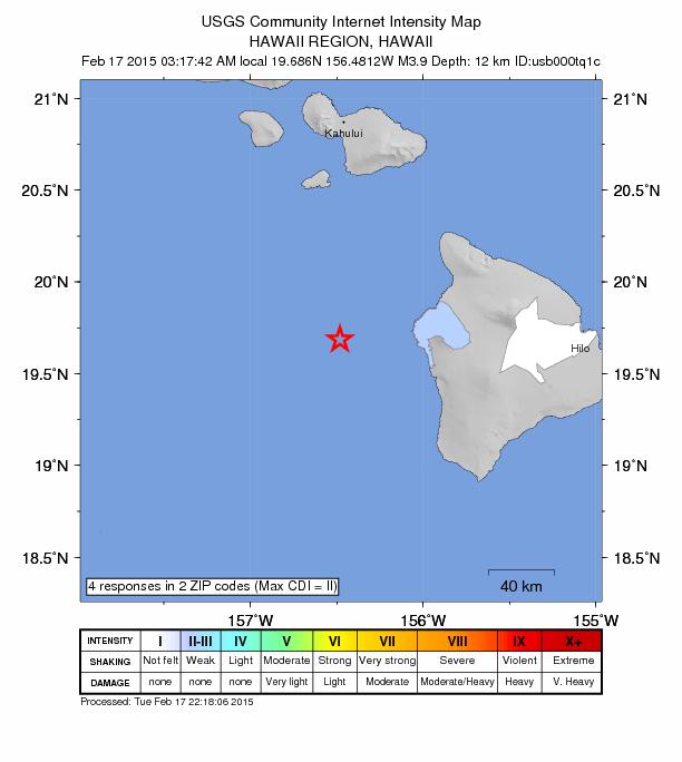 Hawaiʻi Island 3.9 earthquake (2/17/15) intensity map, courtesy USGS.