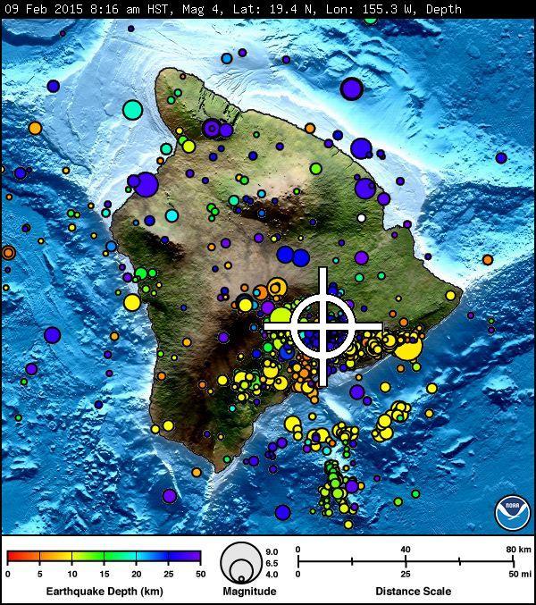 Kīlauea Earthquake, Monday, Feb. 9, 2015.  Image courtesy Pacific Tsunami Warning Center.