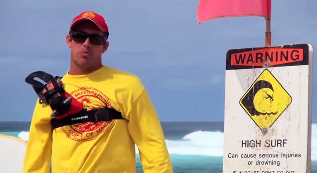 Matthew Mercado, Ocean Safety Officer. Maui County Ocean Safety Video 2015. Image grab from video, sponsored by the Maui Visitors Bureau and the County of Maui Mayor's Office, and produced by Maui County Film Commission. Filmmaker: Michael Fitzgerald.