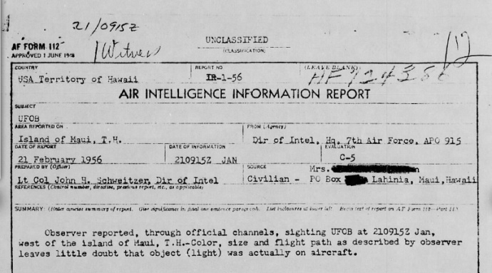 Air Intelligence Information Report. Image courtesy The National Archives, Project Blue Book 1947-1969 via Fold3.