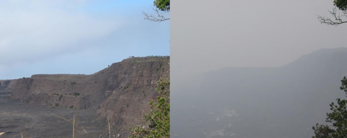 The rim of Kīlauea Volcano's summit caldera, normally clear on trade-wind days (left), became nearly obscured by vog (right) on some non-trade wind days beginning in 2008, when sulfur dioxide emissions from the volcano's summit increased to unusually high levels.  USGS photos.