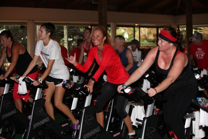 Spinning Nation fundraising event for the American Heart Association's Go Red For Women movement.  Photo by Kevin J. Olson.