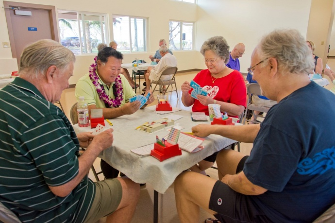 After the blessing of the center Mayor Alan Arakawa sat down to play a game of bridge with some the members of the Maui Bridge Club. (3.18.2015) Photo courtesy County of Maui.