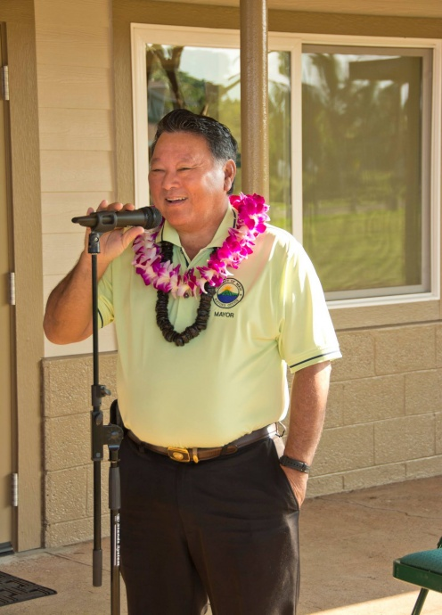 Mayor Alan Arakawa at the Blessing and Grand Re-opening of the Maui Bridge and Intellectual Games Center at the Kenolio Recreational Complex in Kihei. (3.18.2015) Photo courtesy County of Maui.