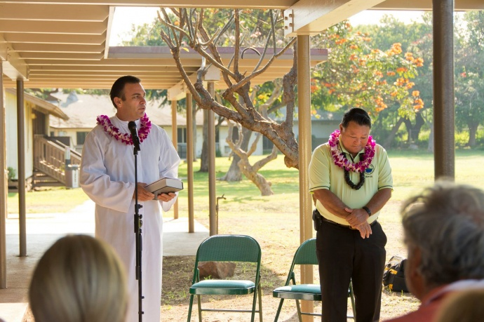 Rev. Sandy Baz offering a blessing at the Grand Re-opening of the Maui Bridge and Intellectual Games Center at the Kenolio Recreational Complex in Kihei. (3.18.2015)  Photo courtesy County of Maui.