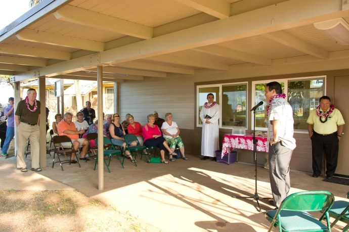 Welcome remarks from Parks & Recreation Director Kaala Buenconsejo at the Blessing and Grand Re-opening of the Maui Bridge and Intellectual Games Center at the Kenolio Recreational Complex in Kihei. (3.18.2015) Photo courtesy County of Maui.