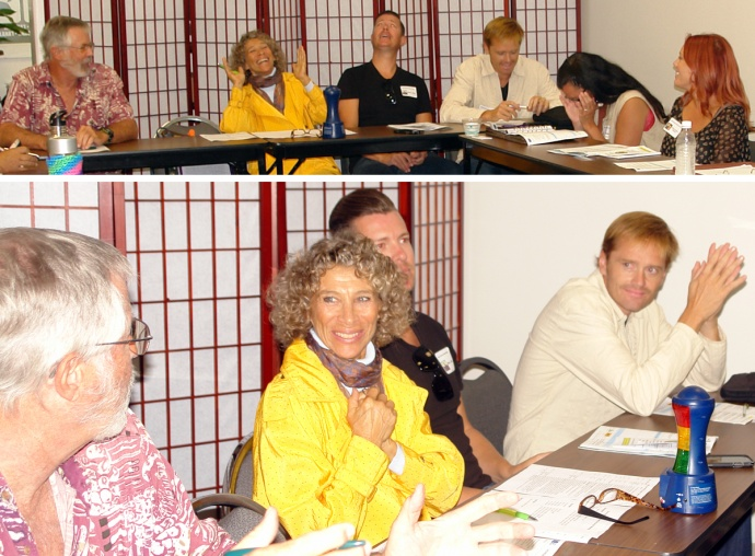 """MBB Think Tank Meeting attendees andGylian Solay (yellow jacket),MBB organizer and owner of """"Organize Your Life."""""""