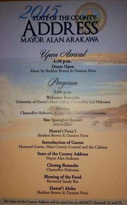 Maui Mayor Alan Arakawa, 2015 State of the County Address. Photo by Wendy Osher.