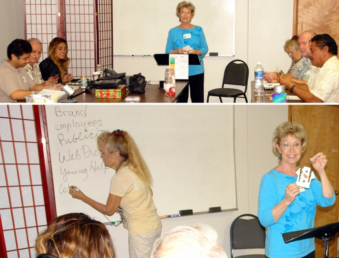 MBB Think Tank Meeting featured business segment with Penny Dant, owner andoriginator of Maui Mini Aloha shirt ornaments.