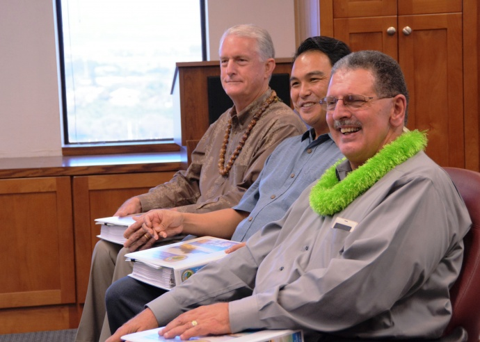 Council Chair Mike White joins Council members Don Guzman and Michael Victorino as Maui Mayor Alan Arakawa presents the Council with his version of the FY 2016 budget. Photo courtesy County of Maui, Office of the Mayor.