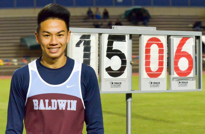 Baldwin's Kainoa Tom  finished with the second best vault all-time by a Hawaii prep Friday, March 13, during MIL Meet #3 at the Yamamoto Track & Field Facility. Photo by Rodney S. Yap.