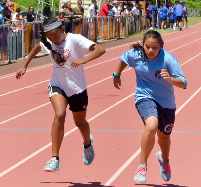 Heat 1, 1. Jamielee Felipe, Kamehameha, 1:16.27; 2. Megan Chu Matsumoto, Maui Waena, 1:18.24
