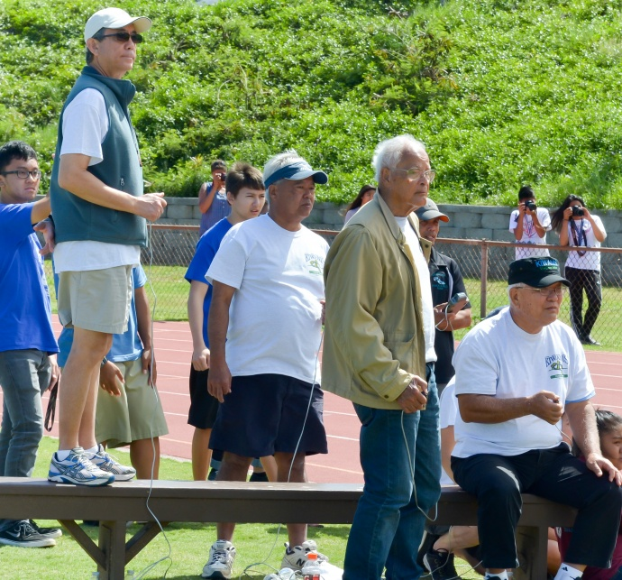 Members of the Kiwanis Club of Maui were lined up at the finish line, helping to officiate the meet Saturday along with volunteers and employees of the Maui County Parks & Recreation Department who annually team up to make this event a success. Photo by Rodney S. Yap.