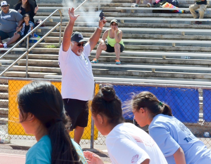 Longtime former Maui Interscholastic League starter Spike Tavares was busy all day Saturday. Photo by Rodney S. Yap.