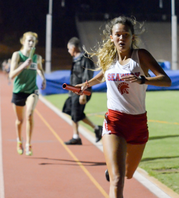 Seabury Hall's Ava Shipman anchor's the Spartans; 4 x 400 relay victory Saturday. Photo by Rodney S, Yap.