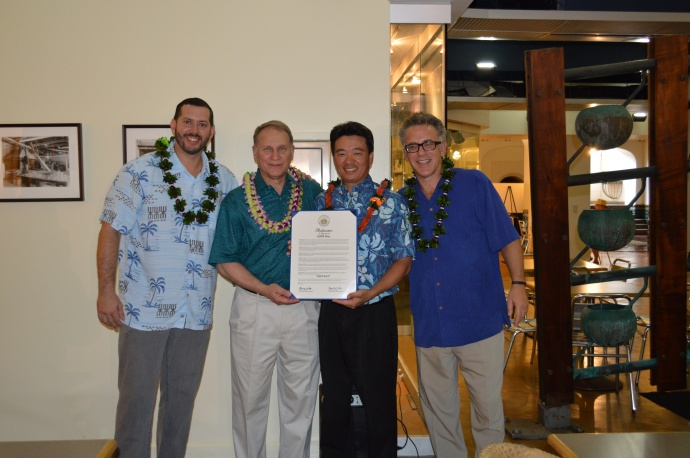 (L-R) Kanoa Leahey, Pete Derzis, Lt. Governor Shan Tsutsui and Neil Everett. Photo Courtesy: Office of the Lt. Governor