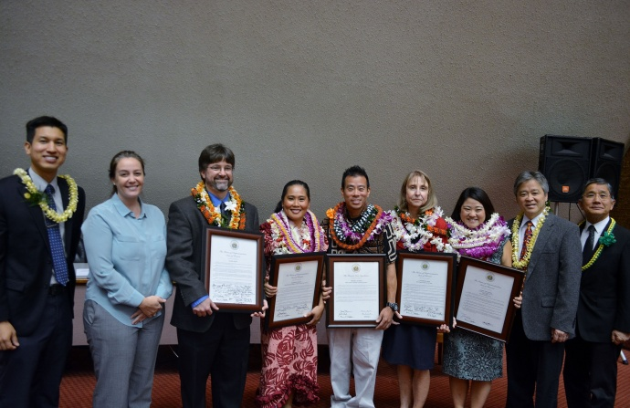 State Teachers of the Year awardees with Education Chair Roy Takumi, Vice-Chair Takashi Ohno, and district Representatives Nicole Lowen and Bert Kobayashi.  Photo Courtesy of House Communications – Majority.