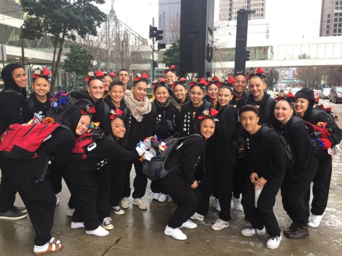 The Hawaii All-Stars Restricted Level 5 team pose outside the train station en route to its competition on Sunday, March 2. Photo courtesy of Hawaii All-Stars.