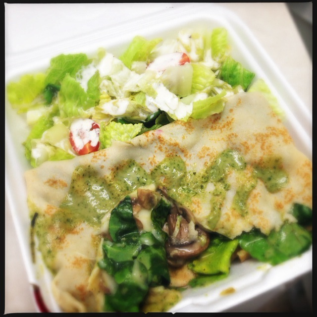 Badua's Spinach and Mushroom Crepe. And seriously: where are they hiding all these ingredients? Photo by Vanessa Wolf