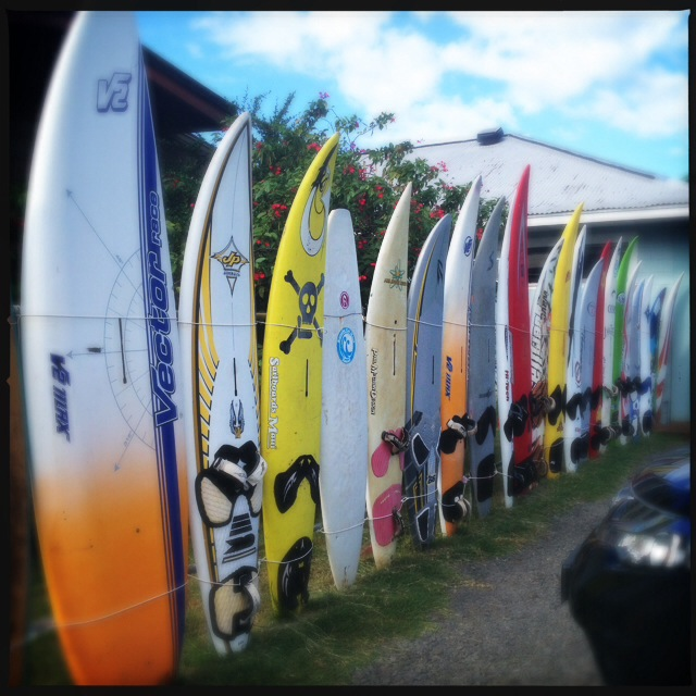 If you're not already familiar with Kuau Store, the surfboard fence is probably the best way to spot it. Photo by Vanessa Wolf