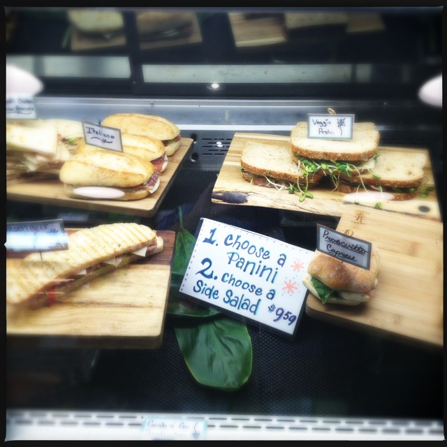 The deli case offers a variety of panini options. Photo by Vanessa Wolf