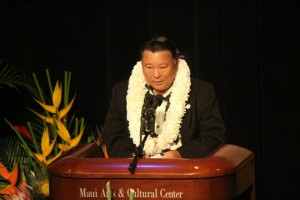 Maui Mayor Alan Arakawa, 2015 State of the County Address. Photo by Wendy Osher.