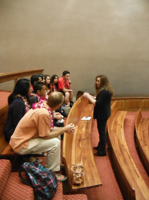 Rep. Carroll meets with students from Lānaʻi High School in the House Chambers. Photo courtesy: Hawaiʻi House of Representatives - Majority.