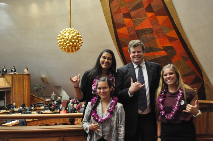 Boys & Girls Club Maui members with Rep. Angus McKelvey at the state capitol.