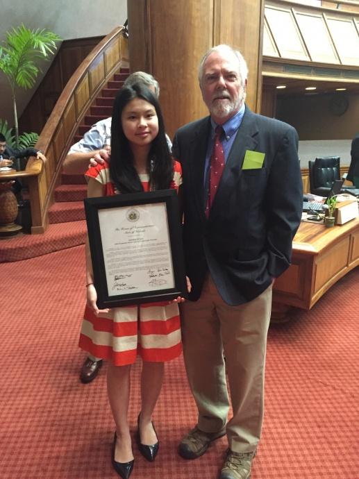 Hawaiʻi Distinguished Finalist Jasmine Doan with Representative Richard Creagan. Photo Courtesy of House Communications – Majority.
