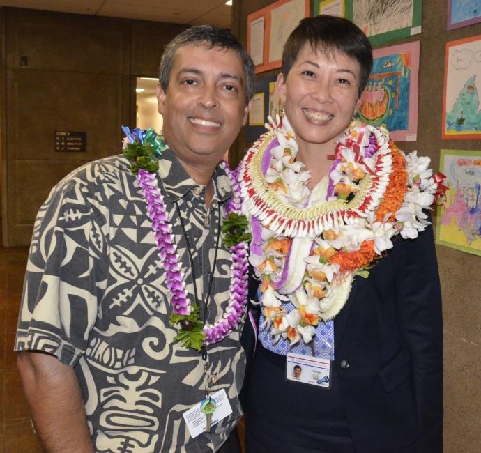 DHS Deputy Director, Pankaj Bhanot and DHS Director nominee Dr. Rachael Wong.  Photo courtesy Hawaiʻi State Senate.