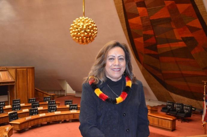Rep. Mele Carroll in House Chambers. Photo courtesy: Hawaiʻi House of Representatives - Majority.