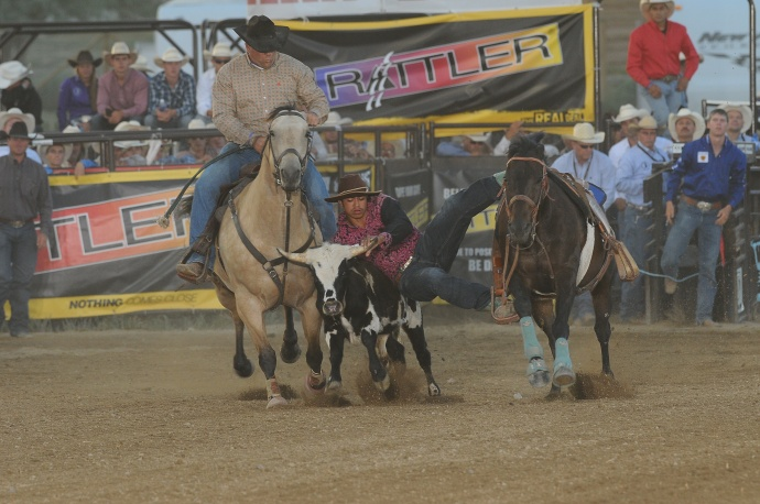 Kanoa Awai-Dickson at the 2014 National High School Finals Rodeo last July in Rock Springs, WY where he knocked a personal best time of 7.47 which landed him 19th in the nation in Round 1. Courtesy photo.