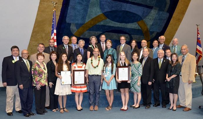 "Prudential ""Spirit of Community"" Award recipients (lft to rt): Jillian Madanay, Jasmine Doan, Todd Becker, Hawaii Prudential ""Spirit of Community"" Regional Awards coordinator, Kaytlen Akau, Alexandra Skrocki."