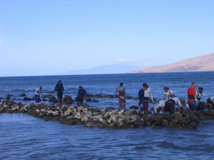 Members of the community help to restore a Native Hawaiian fishpond.  Credit: Ed Lyman/NOAA