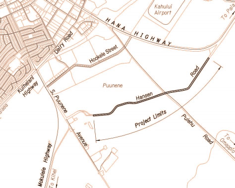 Hansen Road Pavement Reconstruction map.