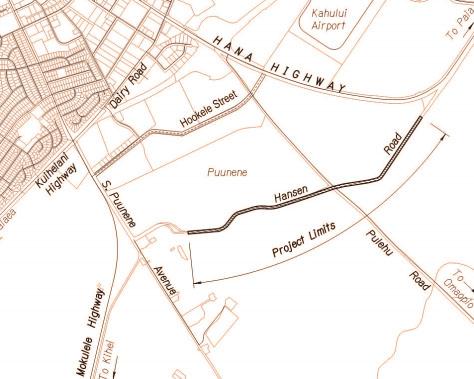Hansen Road Pavement Reconstruction map.