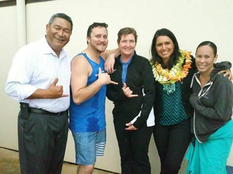Meeting with Maui Police Chief Tivoli Fa`aumu. Photo courtesy Rep. Tulsi Gabbard.