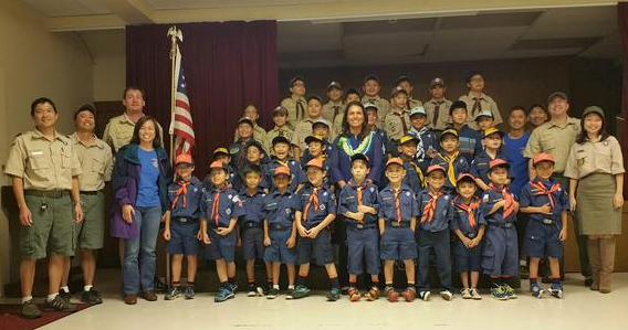 Meet and Greet with Wailuku Hongwanji Boy Scouts Pack 40 Meeting. Photo courtesy Rep. Tulsi Gabbard.